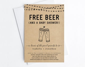 Free Beer Funny Couple's Baby Shower Invitation Template, Fun Gender Neutral Boy Girl Brewery Invite Evite, Instant Download Digital File