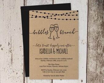Bubbles & Brunch Invitation Template - Morning After Post Wedding Brunch Invite - Instant Download Digital File DIY PDF - Rustic Kraft Paper