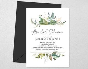 Watercolor Floral Bridal Shower Invitation Template, Printable Summer Flower & Greenery Invite Evite, Editable Instant Download Digital File