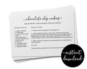 Editable Recipe Card Template - Printable Index Card Size 3x5 4x6 5x7 Easy DIY Digital File Instant Download PDF & Microsoft Word