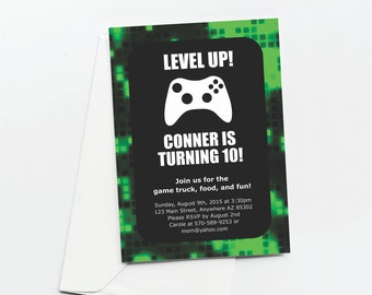 Video Game Invitation Template for Birthday Party - Printable Green Game Truck Xbox Gamers Invite & Evite - Instant Download Digital File