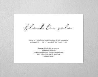 Black Tie Gala Invitation Template, Printable Simple Modern Minimalist Invite, Instant Download Digital File PDF, Annual Dinner Fundraiser