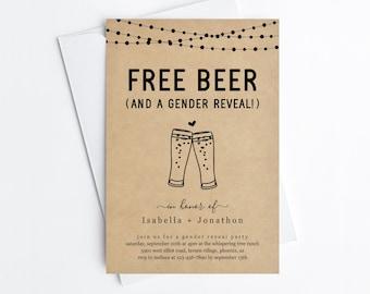 Free Beer Funny Gender Reveal Party Invitation Template, Fun Brewery Gender Reveal Shower Invite Evite Instant Download Digital File DIY PDF