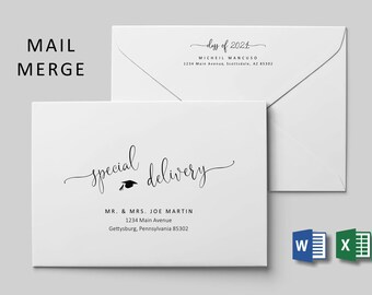 Graduation Address Envelope Template Microsoft Word Mail Merge, Printable Class of 2021 Grad Calligraphy Instant Download Digital File A7 A9
