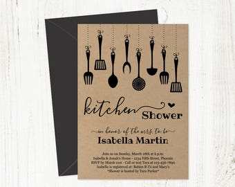 Kitchen Shower Invitation Template - Bridal / Wedding - Printable Rustic Invite on Kraft Paper - Instant Download PDF Digital File 5x7