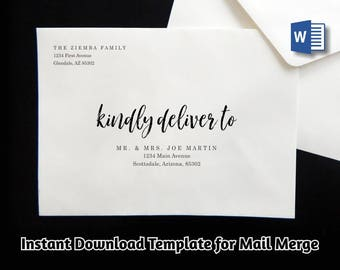 Wedding Address Envelope Template for Microsoft Word Mail Merge - Printable Brush Script Instant Download Digital File A7 - Christmas