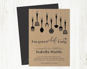 Pampered Chef Party Invitation Template - Printable Rustic Kitchen Party Invite on Kraft Paper - Instant Download PDF Digital File 5x7
