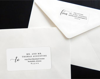Printable Calligraphy Address Template Envelope Label, Avery 2 x 4 & 1 x 2-5/8 - Wedding, Christmas, etc - Instant Download Digital File PDF