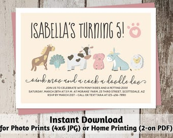 Printable Petting Zoo Invitation - Girl Cute Farm Animal Birthday Party Template - Instant Download Digital File > Photo Prints & Card Stock