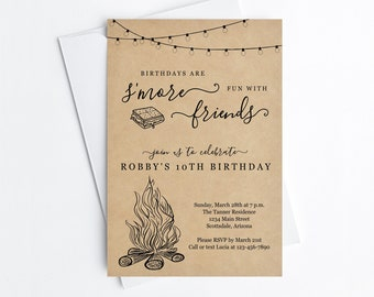 Smore Birthday Party Invitation Template, Boy Girl Backyard Bonfire Campfire Camping Editable Invite & Evite Instant Download Digital File