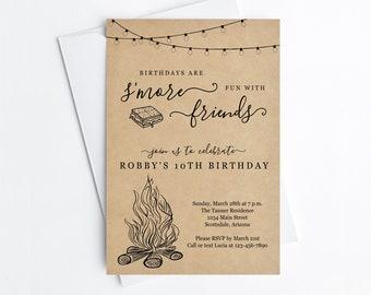 Smore Birthday Party Invitation Template, Boy Girl Backyard Bonfire Campfire Camping Editable Invite & Evite Instant Download Digital File