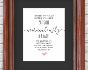 Adoption Wall Art - Printable Gift - Adoption Poem Print for Nursery / Bedroom - PDF Instant Download Digital File - 8x10 5x7 4x6