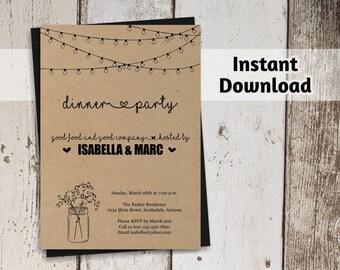 Dinner Party Invitation - Printable Template - Rustic Mason Jar - Kraft Paper - Instant Download Digital File - Adult Dinner Invitation