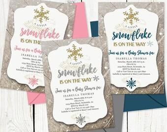 Printable Winter Wonderland Baby Shower Invitation Template - Girl Boy Gender Neutral - A Little Snowflake Instant Download Digital File PDF