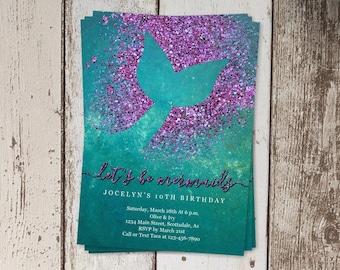 printable mermaid invitation template mermaid birthday party etsy