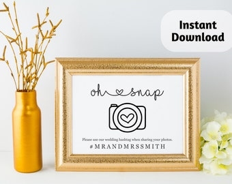Hashtag Sign Printable Template - Instragram Hash Tag Rustic Wedding Reception Poster on Kraft Paper | Editable PDF Instant Download | Logo