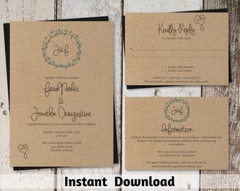 Wedding Invitation Template - Wreath & Heart Printable Set - Kraft Paper | Easy Editable PDF Instant Download Digital File Suite - Simple