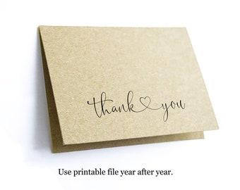 Printable Thank You Card Template - Blank Folded Elegant Minimalist - Basic Instant Download Digital File PDF - Wedding Shower Teacher Bulk