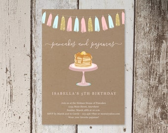 Pancakes & Pajamas Birthday Party Invitation Template, Printable Invite Evite, Girl Women Adult Theme Easy Instant Download Digital File PDF