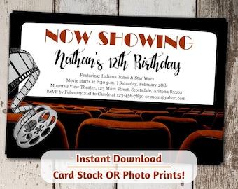 Movie Invitation - Movie Theater Invitation - Digital File Instant Download - Photo Prints or Card Stock - Movie Night Birthday Party Invite