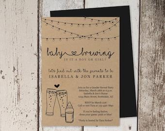 Baby Brewing Gender Reveal Party Invitation Template - Printable Brewery Beer & Baby Bottle - Kraft Paper - Instant Download Digital File