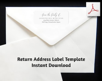 Funeral Return Address Label Template, From the Family of Printable Envelope Label, Avery 1 x 2 5/8 Instant Download Digital File PDF