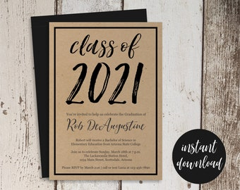 2021 Graduation Party Invitation Template - Women / Men or Girls / Boys High School or College - Printable Instant Download Digital File PDF