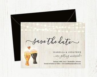 Beer Brewery Save the Date Card Printable Template - Rustic Pint Glass Toast on Wood   Easy Editable   Instant Download Digital File 5x7 PDF