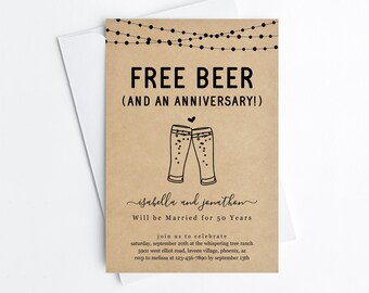 Free Beer Funny Anniversary Party Invitation Template, Fun Printable Brewery Invite Evite Editable 5th 10th 20th 25th 30th 40th 50th 60th
