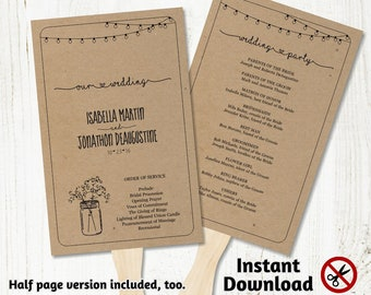 Printable Wedding Program Fan Template - Rustic Mason Jar, Fairy Light, Baby Breath, Kraft Paper - PDF Instant Download Booklet - Half page