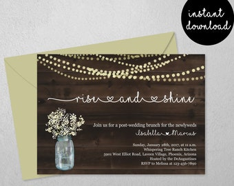 Post Wedding Brunch Invitation Printable Template - Rise Shine Invite - Rustic Wood Fairy Light Morning After Instant Download Digital File