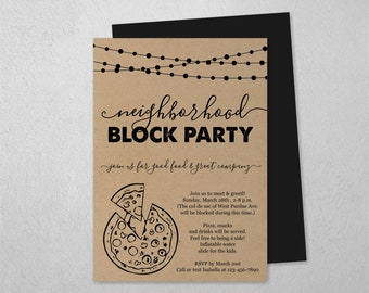 Neighborhood Block Party Invitation Template, Printable Pizza Street Get Together Invite, Meet the Neighbor, Instant Download Digital File