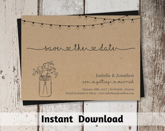Save the Date Card Printable Template - Rustic Mason Jar & Fairy Lights on Kraft Paper | Instant Download Digital File DIY PDF - 4x6 and 5x7