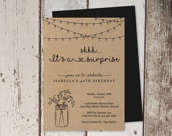 Rustic Surprise Party Invitation Template - Printable Surprise Birthday Invite, Mason Jar, Light - PDF Instant Download Digital File - Women