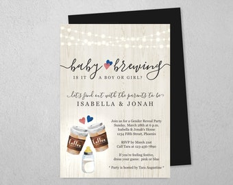 A Baby is Brewing Gender Reveal Party Invitation Template - Printable Coffee Theme Invite & Evite - Instant Download Digital File PDF