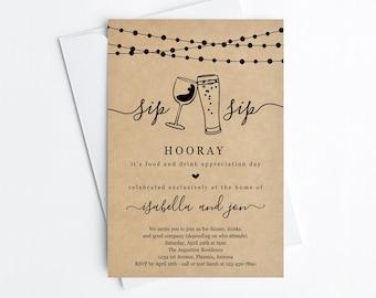 Funny Dinner Party Invitation Template, Printable Sip Sip Hooray Fun Beer Wine Adult Invite Evite, Kraft Paper Instant Download Digital File