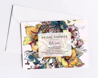 Unique Floral Bridal Shower Invitation Template - Printable Wedding Shower Invite & Evite, Instant Download Digital File PDF, Retro Colorful