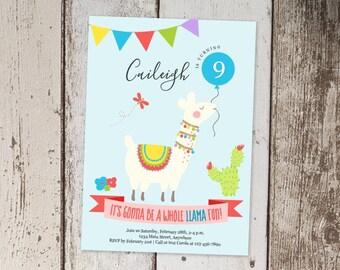 Llama Invitation Template, Printable Girls Birthday Invitation, Desert Fiesta Cactus Theme Party Invite - Instant Download Digital File PDF