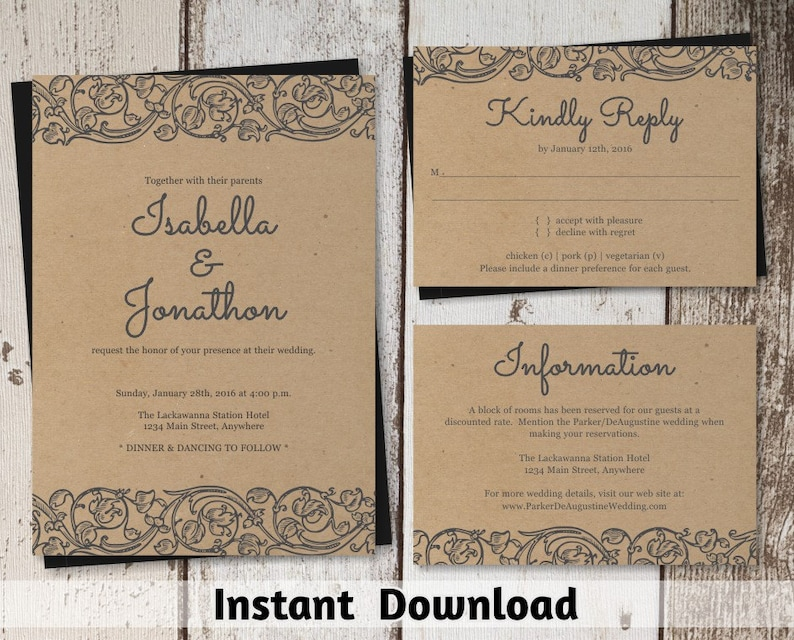 Rustic Lace Wedding Invitation Template Shabby Chic Etsy