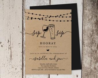 Sip Sip Hooray Engagement Party Invitation Template, Printable Rustic Beer Wine Toast Kraft Paper Invite Evite Instant Download Digital File