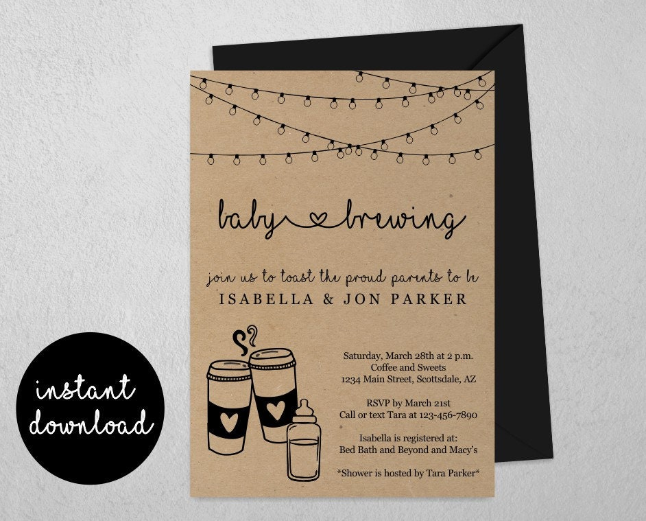 Baby Is Brewing Shower Invitation Template
