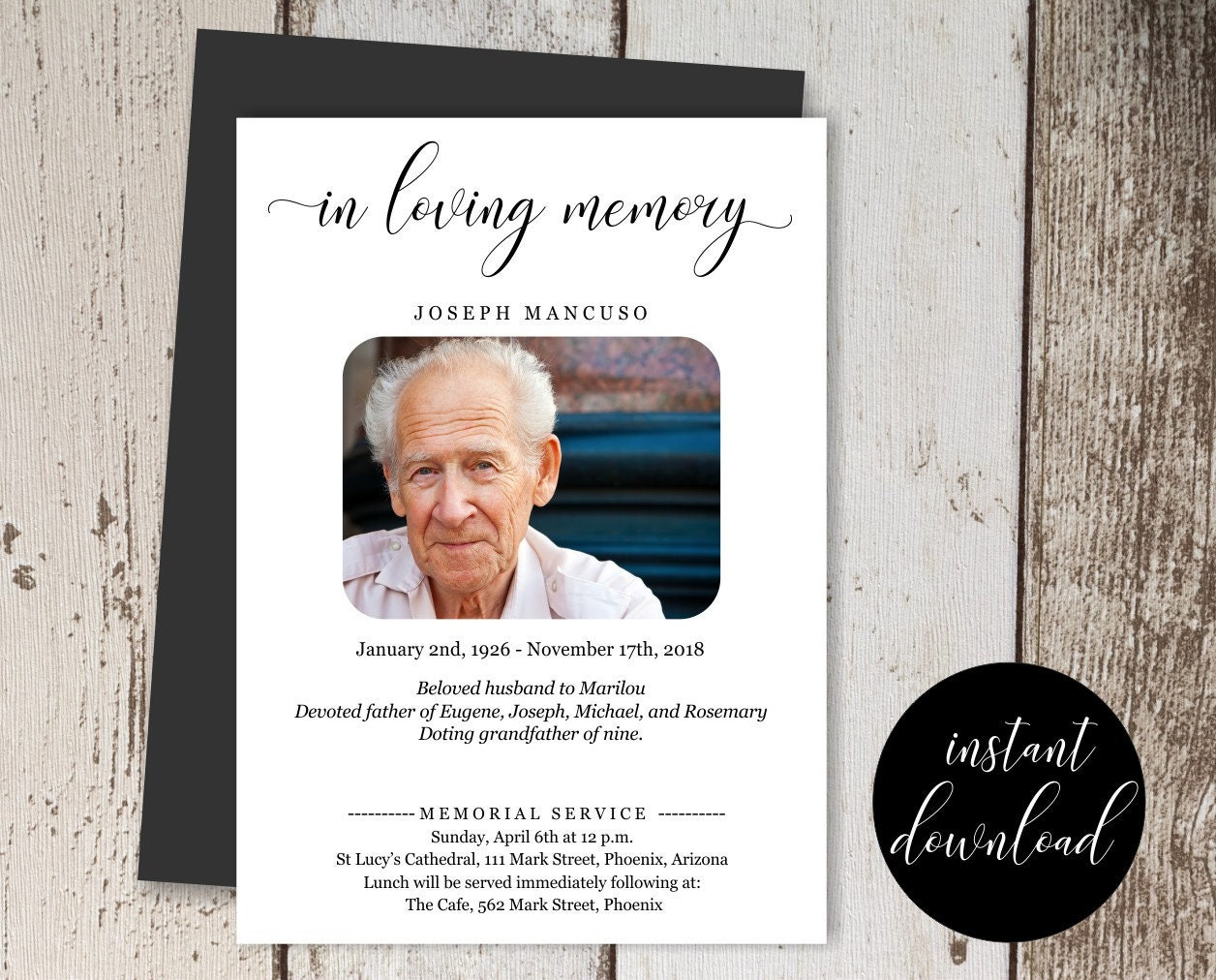 Funeral Announcement Template Printable Memorial