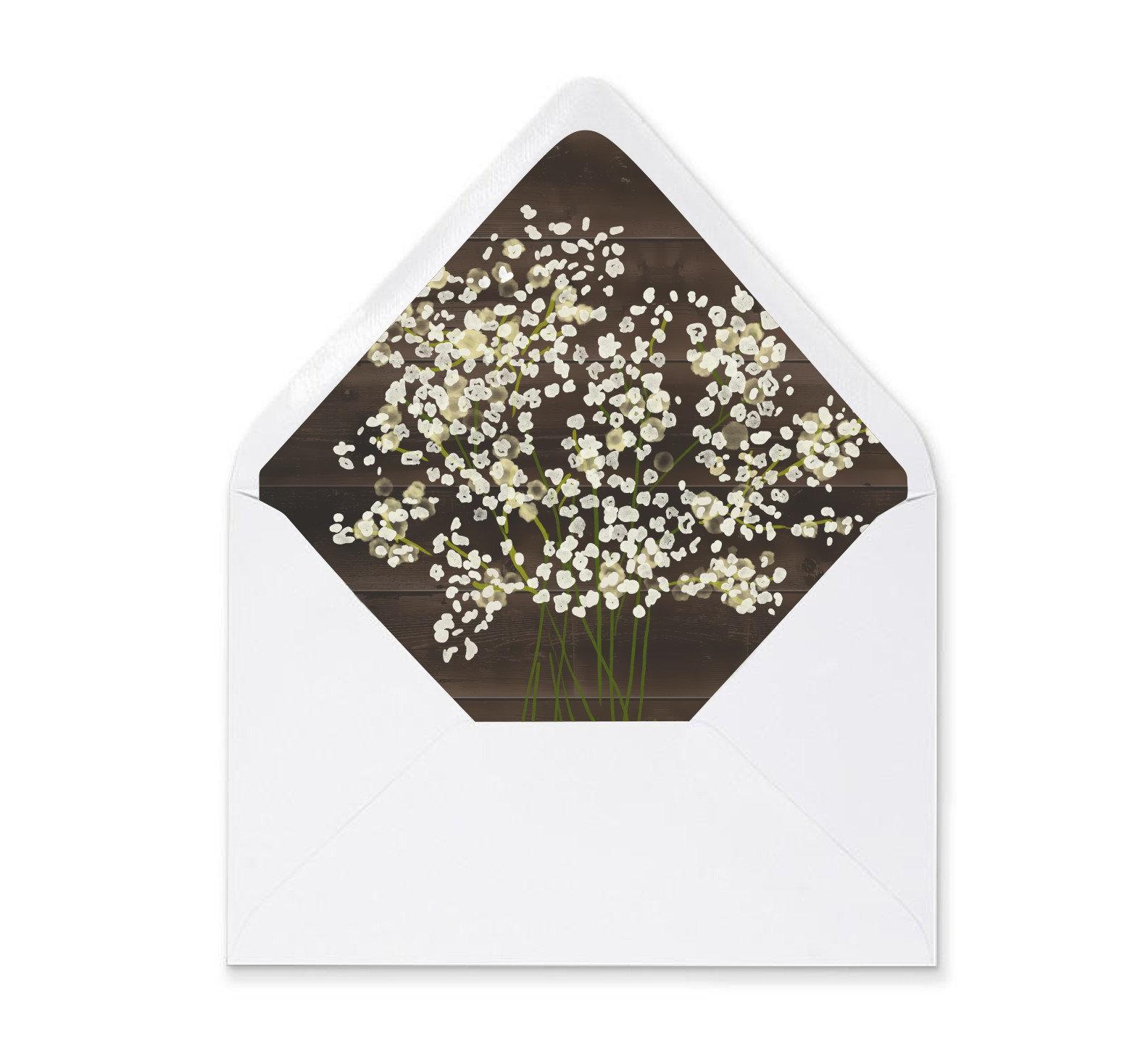 Rustic Envelope Liner Template Printable Babys Breath Floral On