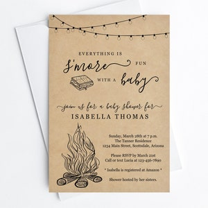 Fun Boy Girl Backyard Bonfire Campfire Camping Editable Invite /& Evite Instant Download Digital File Smore Baby Shower Invitation Template