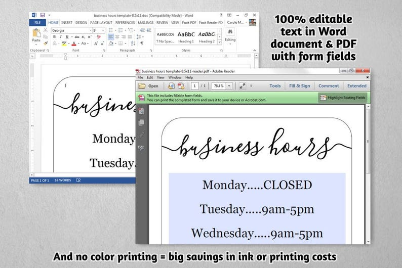 photograph regarding Business Hours Template Pdf named Small business Hrs Signal, Printable Template, Hrs of Surgery - Holiday vacation, Office environment, Retail outlet, Open up Several hours, PDF Phrase Do it yourself Fast Obtain Electronic Record