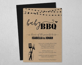 Baby BBQ Invitation Template, Printable Couple Baby Q Barbeque Shower, Rustic Mason Jar Kraft Paper, Instant Download PDF File, BabyQ Invite