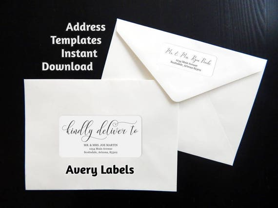 printable calligraphy address template envelope label avery 2 etsy