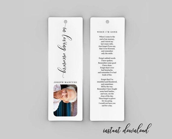 Bookmark Template | Funeral Bookmark Template Printable Memorial Bookmark Etsy