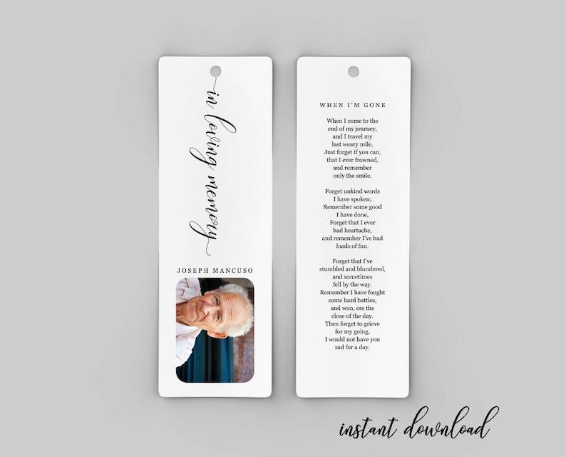 Funeral Bookmark Template Printable Memorial Bookmark Etsy
