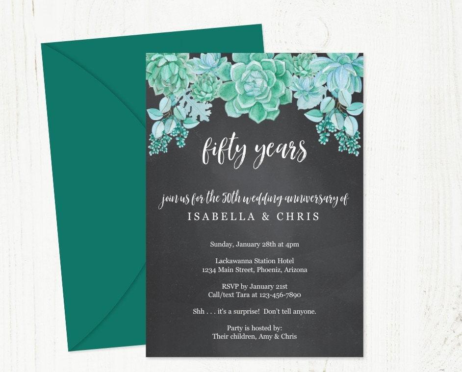 Succulent Wedding Anniversary Invitation Template